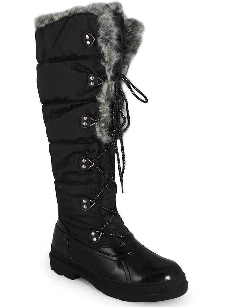 new womens black lace up warm winter snow fur